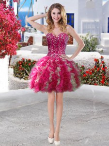 Exceptional Sleeveless Lace Up Beading and Ruffles Prom Evening Gown