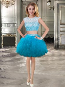 Scoop Tulle Cap Sleeves Mini Length and Beading and Ruffles