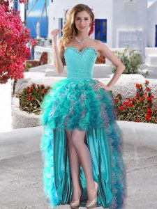 Great Aqua Blue Organza Lace Up Sweetheart Sleeveless High Low Prom Dress Beading and Ruffles