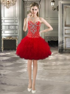 Red Tulle Lace Up Sweetheart Sleeveless Mini Length Prom Dresses Beading and Ruffles
