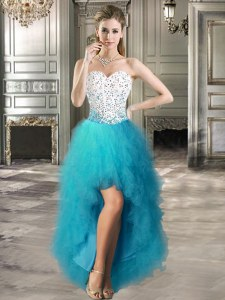 Noble Sweetheart Sleeveless Tulle Evening Dress Beading and Ruffles Lace Up