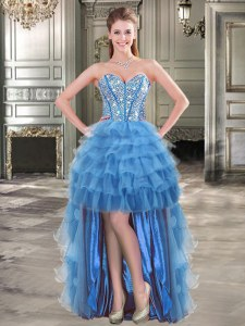 Hot Selling Blue Sleeveless High Low Beading and Ruffled Layers Lace Up Prom Party Dress