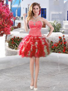 Captivating Ball Gowns Prom Evening Gown Red Sweetheart Organza Sleeveless Mini Length Lace Up