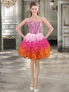 Multi-color Sweetheart Neckline Beading and Ruffles Evening Dress Sleeveless Lace Up