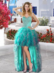 Organza Sweetheart Sleeveless Lace Up Beading and Ruffles Prom Evening Gown in Turquoise