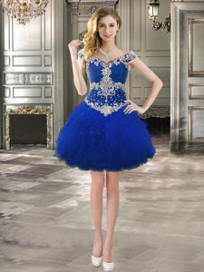 Romantic Royal Blue Off The Shoulder Neckline Beading and Ruffles Prom Evening Gown Cap Sleeves Lace Up