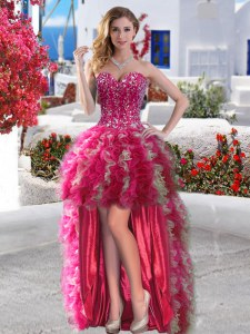 Fuchsia Sleeveless High Low Beading and Ruffles Lace Up Homecoming Dress