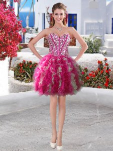 Popular Mini Length Lace Up Evening Dress Fuchsia for Prom and Party with Beading and Ruffles