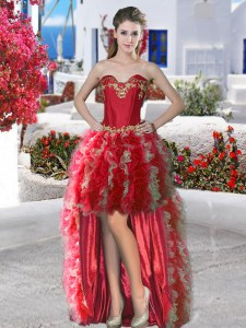 Organza Sleeveless High Low Prom Gown and Appliques and Ruffles