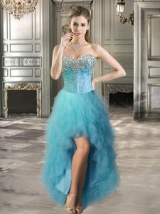 Graceful Sweetheart Sleeveless Tulle Evening Dress Beading and Ruffles Lace Up