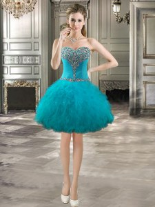 Sweetheart Sleeveless Cocktail Dresses Mini Length Beading and Ruffles Teal Tulle