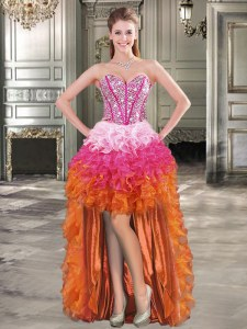 Captivating High Low Multi-color Organza Sleeveless Beading and Ruffles