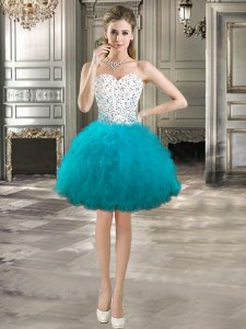 Romantic Teal Tulle Lace Up Sweetheart Sleeveless Mini Length Cocktail Dresses Beading and Ruffles