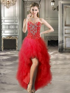 Sleeveless High Low Beading and Ruffles Lace Up Prom Evening Gown with Red