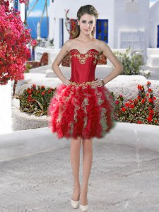 Great Red Prom Party Dress Prom and Party and For with Appliques and Ruffles Sweetheart Sleeveless Lace Up