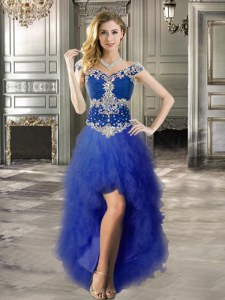 Off the Shoulder Royal Blue Cap Sleeves High Low Beading and Ruffles Lace Up Prom Evening Gown