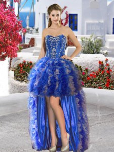 Charming Royal Blue Ball Gowns Appliques and Ruffles Homecoming Dress Lace Up Organza Sleeveless High Low