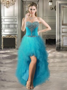 Sleeveless High Low Beading and Ruffles Lace Up Homecoming Dress with Teal