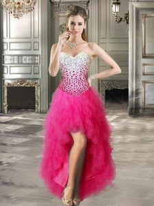 Hot Pink Sweetheart Neckline Beading and Ruffles Sleeveless Lace Up