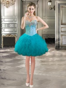 Sweetheart Sleeveless Lace Up Evening Dress Teal Tulle