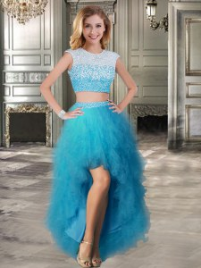 Amazing Scoop Teal Tulle Lace Up Prom Evening Gown Cap Sleeves High Low Beading and Ruffles