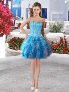 Baby Blue Organza Lace Up Prom Dress Sleeveless Mini Length Beading and Ruffles