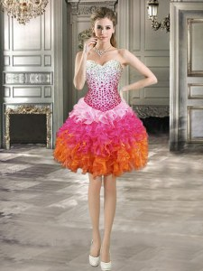 Spectacular Organza Sweetheart Sleeveless Lace Up Beading and Ruffles Prom Evening Gown in Multi-color