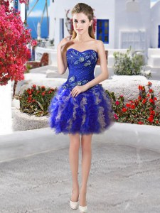 Sweetheart Sleeveless Lace Up Evening Dress Royal Blue Organza