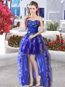 Nice Royal Blue Sweetheart Neckline Appliques and Ruffles Homecoming Dress Sleeveless Lace Up