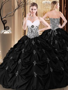 Pick Ups Sweetheart Sleeveless Lace Up Quinceanera Gowns Black Taffeta