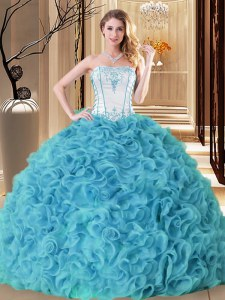 Traditional Aqua Blue Ball Gowns Fabric With Rolling Flowers Strapless Sleeveless Embroidery and Ruffles Floor Length Lace Up 15 Quinceanera Dress