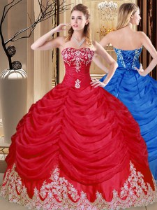 Flare Coral Red Lace Up Sweet 16 Quinceanera Dress Appliques and Pick Ups Sleeveless Floor Length