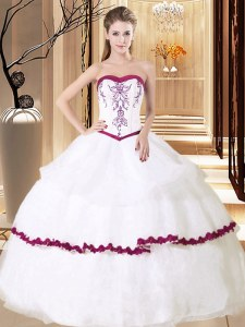 White Ball Gowns Organza Sweetheart Sleeveless Embroidery and Ruffled Layers Floor Length Lace Up Quinceanera Gown