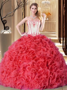 Coral Red Ball Gowns Embroidery and Ruffles 15 Quinceanera Dress Lace Up Fabric With Rolling Flowers Sleeveless Floor Length