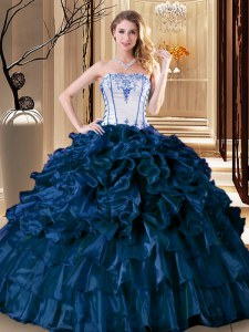 Navy Blue Ball Gown Prom Dress Military Ball and Sweet 16 and Quinceanera and For with Pick Ups Strapless Sleeveless Lace Up