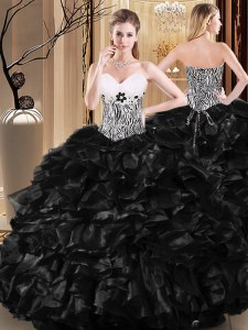 Chic Ruffles and Pattern Quinceanera Gowns Black Lace Up Sleeveless Floor Length