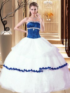 Glamorous Strapless Sleeveless Sweet 16 Dress Floor Length Beading White Organza