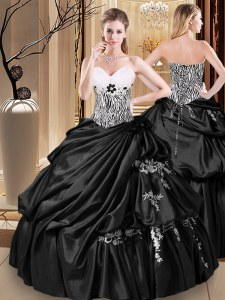 Spectacular Black Sweetheart Neckline Appliques and Pick Ups Quinceanera Dresses Sleeveless Lace Up