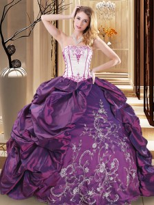 Purple Lace Up Strapless Embroidery Quinceanera Gowns Taffeta Sleeveless