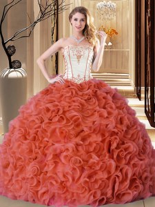 Exceptional Strapless Sleeveless Fabric With Rolling Flowers Ball Gown Prom Dress Embroidery and Ruffles Lace Up