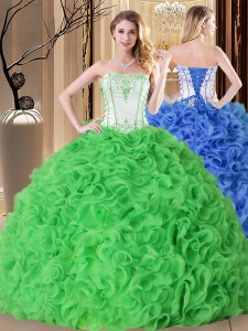 Luxury Sleeveless Floor Length Embroidery and Ruffles Lace Up Sweet 16 Quinceanera Dress