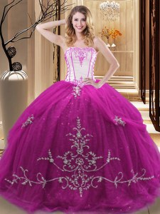 Top Selling Fuchsia Sleeveless Floor Length Embroidery Lace Up Sweet 16 Dresses