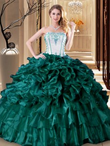 Traditional Ruffled Ball Gowns 15 Quinceanera Dress Turquoise Strapless Organza Sleeveless Floor Length Lace Up