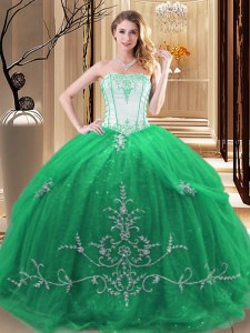 Fabulous Green Sleeveless Tulle Lace Up Sweet 16 Dresses for Military Ball and Sweet 16 and Quinceanera