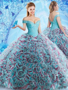 Designer Multi-color Ball Gowns Off The Shoulder Sleeveless Fabric With Rolling Flowers Court Train Backless Beading and Appliques and Ruffles Sweet 16 Dress
