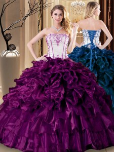 Pretty Strapless Sleeveless Quinceanera Gowns Floor Length Pick Ups Purple Organza