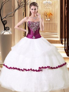 Floor Length Ball Gowns Sleeveless White 15 Quinceanera Dress Lace Up
