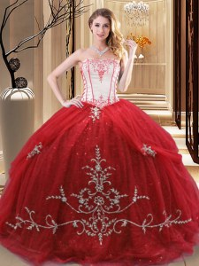 Great Sleeveless Lace Up Floor Length Embroidery Sweet 16 Quinceanera Dress