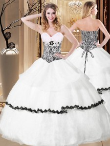 Glittering White Organza Lace Up Ball Gown Prom Dress Sleeveless Floor Length Ruffled Layers and Pattern