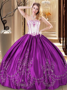 Purple Ball Gowns Embroidery Quinceanera Dresses Lace Up Taffeta Sleeveless Floor Length